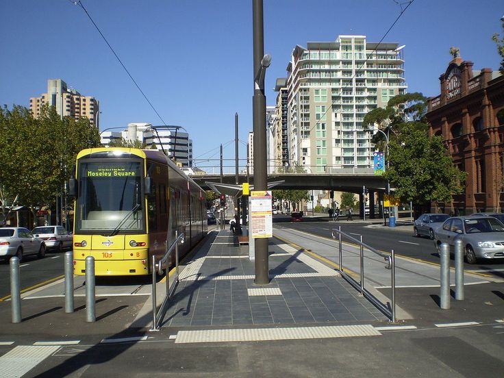 Tram at the former City West terminus of the Glenelg Tramline. The line has since been extended to the Adelaide Entertainment Centre.