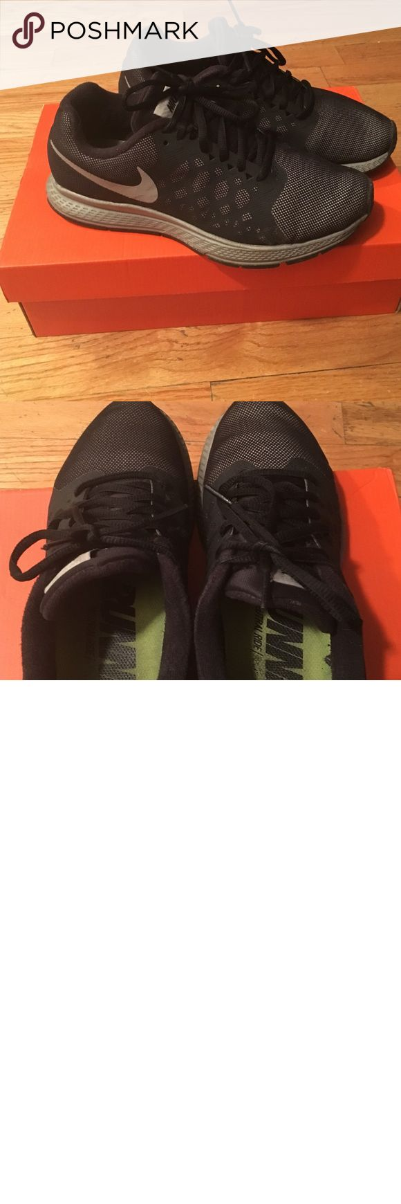 Nike Womans Pegasus Black and grey Nike Pegasus womans size 7 in excellent condition only been worn a couple of times. The inside label is a little worn but they still in wonderful condition. These shoes are water repellant and very comfortable! Nike Shoes Athletic Shoes