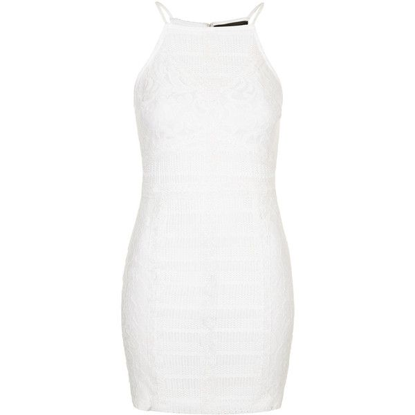 TOPSHOP PETITE Strappy Lace Bodycon Dress ($75) ❤ liked on Polyvore featuring dresses, cream, petite, white lace dress, bodycon dress, white dress, white body con dress and cream cocktail dress