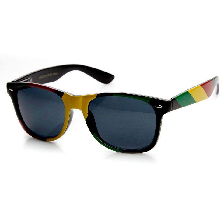 Rasta Jamaican Color Rockers Reggae Horn Rimmed Sunglasses #Zerouv