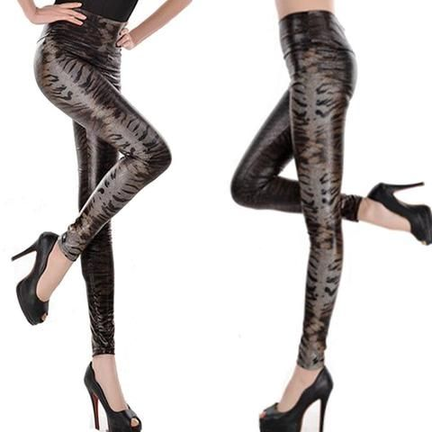 COBRA SNAKE SHINNY PU LEATHER LEGGINGS