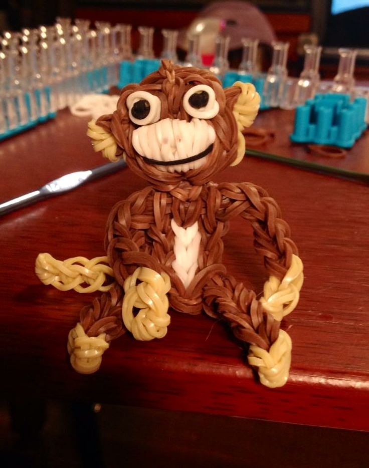 "MONKEY. Designed and loomed by Bobbi McGhee. (Rainbow Loom FB page)  Bobbi said ""Just monkeying around!"""