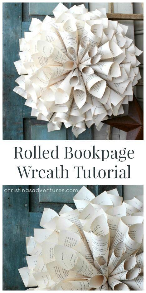 Rolled Book Page Wreath Tutorial    christinasadventures.com