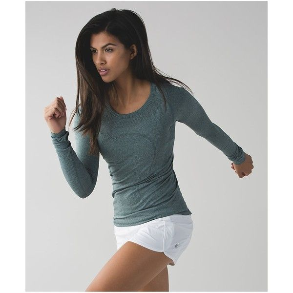 lululemon Swiftly Tech Long Sleeve Crew ($68) ❤ liked on Polyvore featuring activewear, activewear tops, heathered dark fuel and lululemon