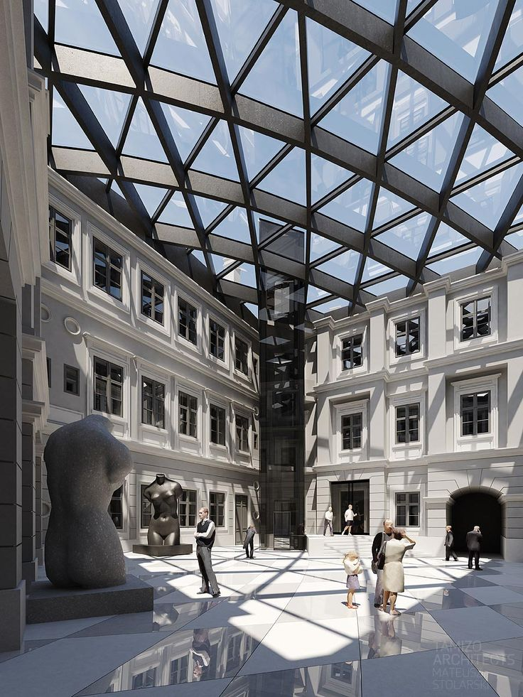 Dziedziniec Muzeum Historycznego w Bielsko-Białej. Gmach muzeum - Zamek książąt Sułkowskich to najstarsza i największa zabytkowa budowla Bielska-Białej. Zmodernizowany, szklany dach nadaje jej niebanalnego charakteru.
