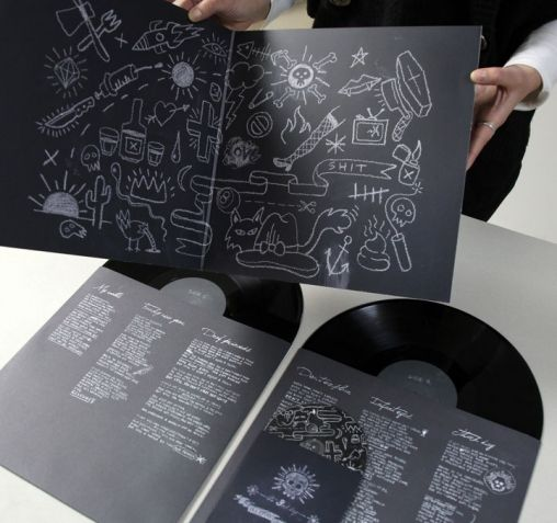 "Album design for Illegal Operation's third album, entitled ""The third Day"". Double sleeve vynil with enclosed cd, hand made with chalk on blackboard."