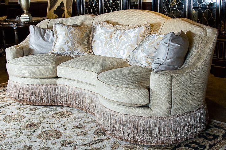 Curved Sofa With Fringe Seat Cushions Curved Sofa Fringe
