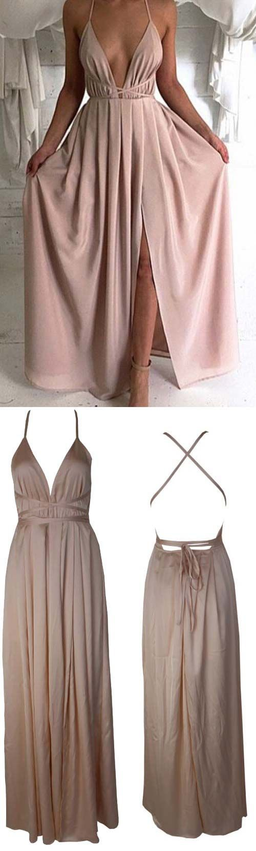 Blush Pink prom dresses,Sexy Prom dress,Backless prom dress,Plunge V Neck evening gowns,Slit prom dress,2016 prom dress,long prom dress,Criss cross straps prom dress,