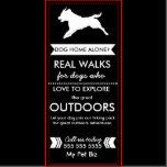 """Use this rack card to promote your dog walking business. The text in this template currently reads """"Dog home alone? Real walks for dogs who love to explore the great outdoors"""" - but you can change this text into ANYTHING you want!  Simply click the CUSTOMIZE button, and edit all the text, add your own business name, phone number and web address to this template. Inside the customize editor you can even change the background and font color!  The back of this rack card has been left b..."""