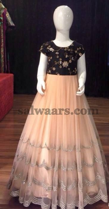 Peach Frock with Black Yoke - Indian Dresses