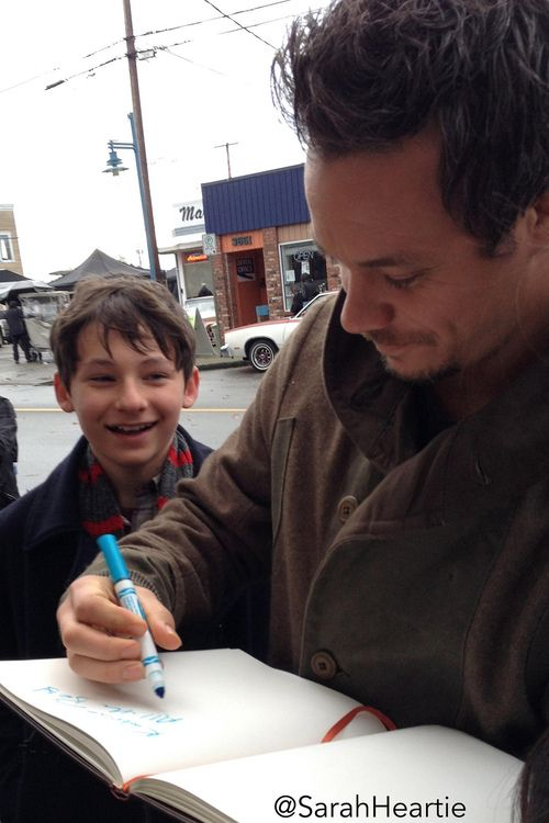 Jared Gilmore (Henry) and Michael Raymond James (Neal) on the set of Once Upon A Time. #OUAT
