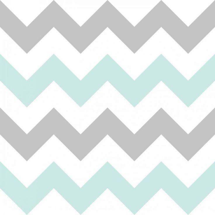 Papel de parede Chevron verde, branco e cinza - PA7640