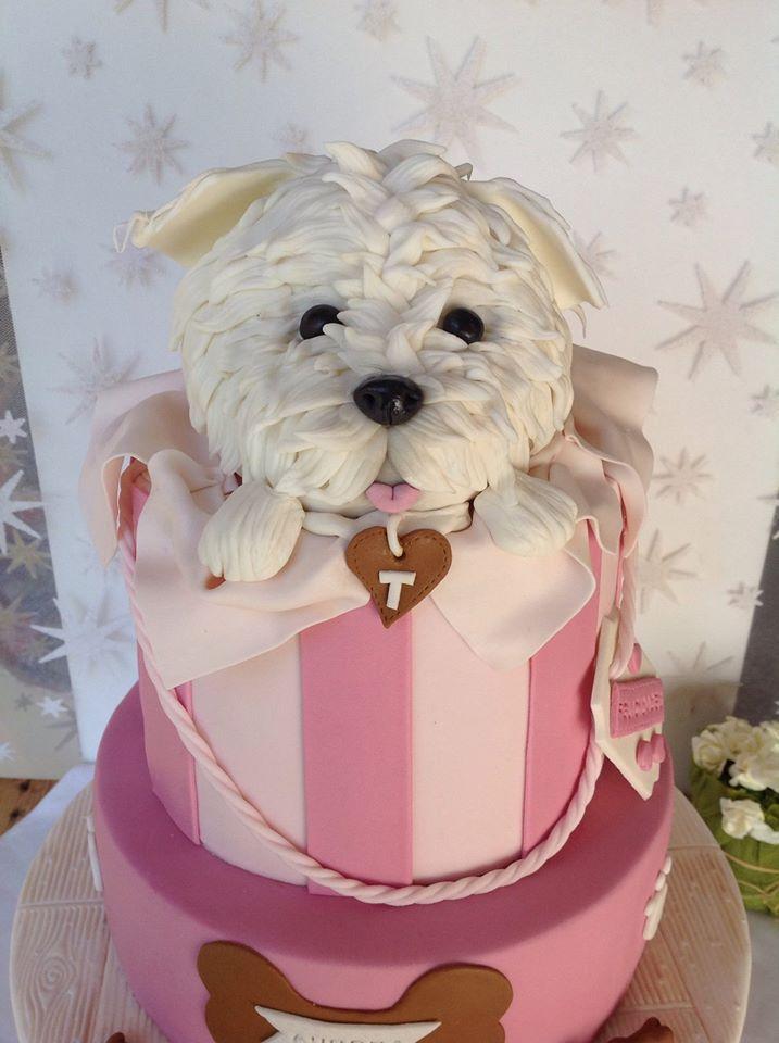 Doggie pink fondant cake