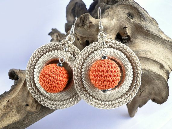 Handmade Crochet Earrings [0040ki] Crochet Disc Hoop Earrings with Crochet Bead…