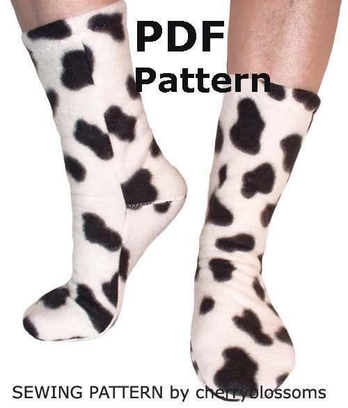 Fleece Sock Pattern Sewing Full Size PDF by cherryblossoms