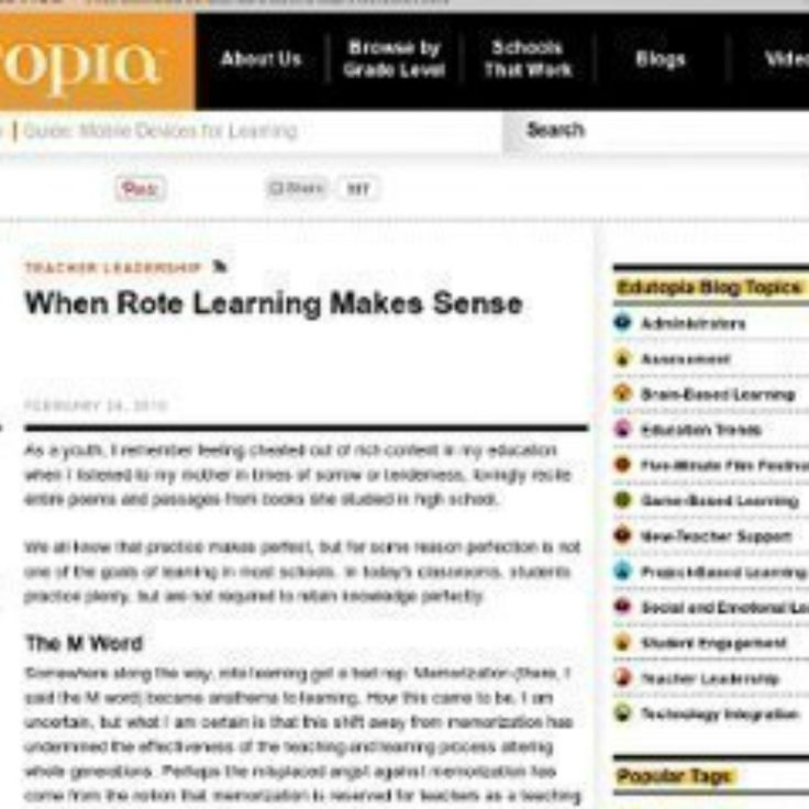 WHEN ROTE LEARNING MAKES SENSE