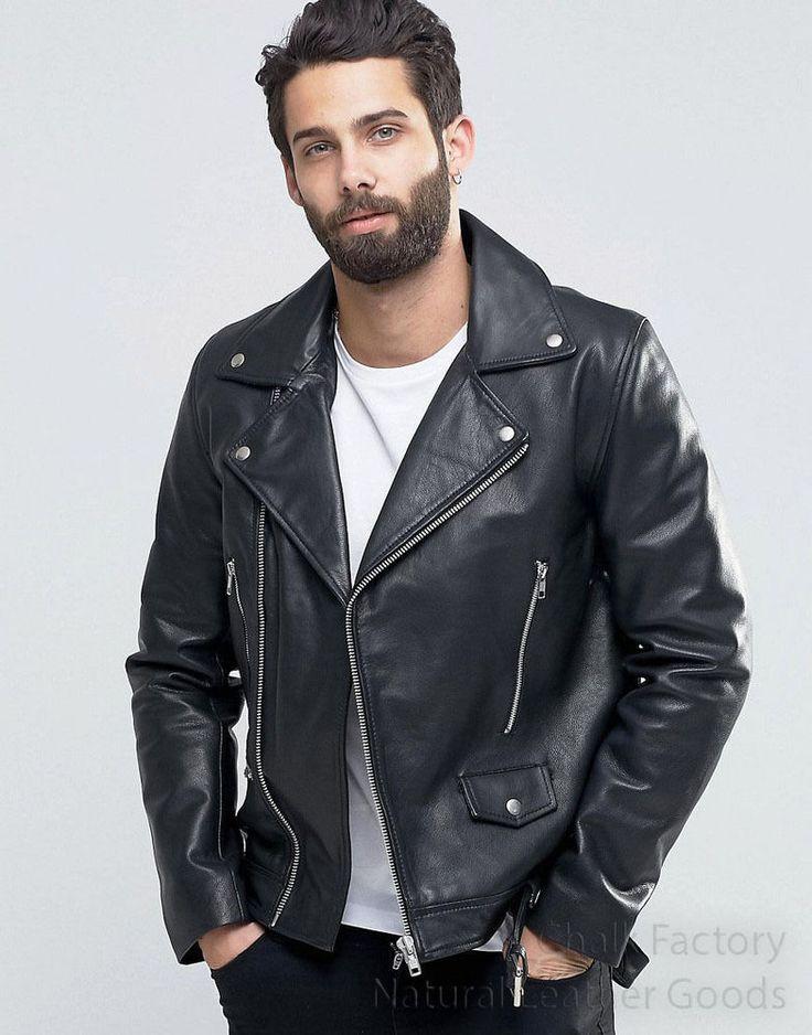 Lamskin Men Black Leather jacket with Stylish Motorcycle coat design #LeatherCraze #Motorcycle