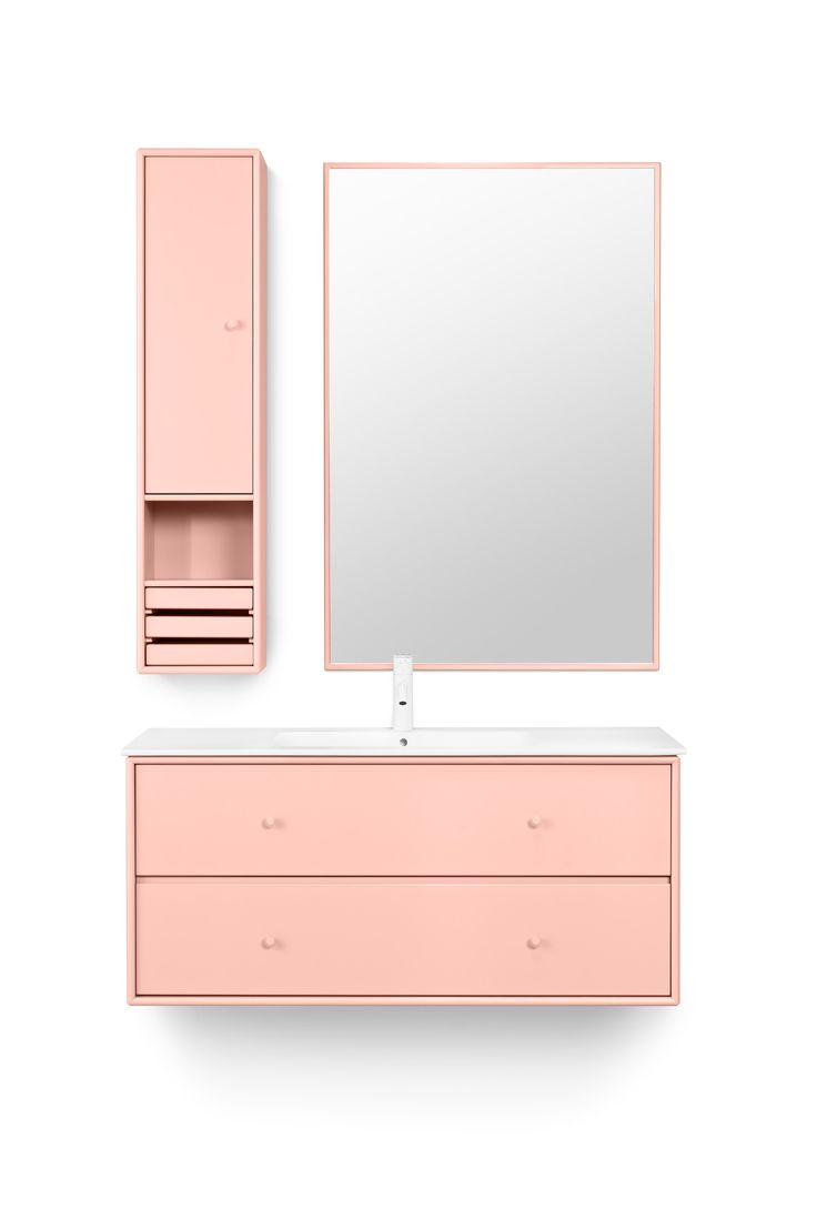 WASH 1 in the colour Peach – for the perfect feminine bathroom. #montana #furniture #montanafurniture #danish #design #bathroom #cabinets #mirror #peach #pink #feminine #girly