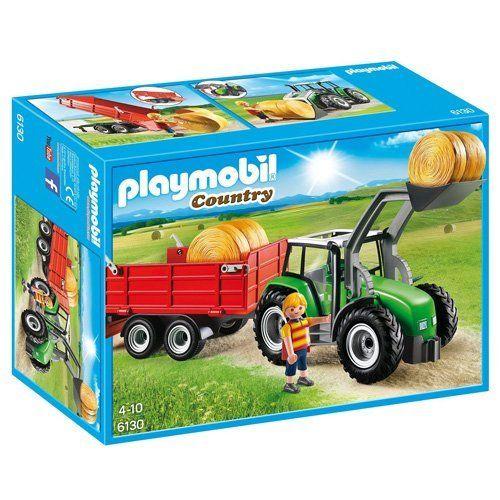Playmobil 6130 Traktor mit Anhänger: La moisson est terminée, c'est le moment d'engranger les balles de pailles avec le tracteur. Tracteur…