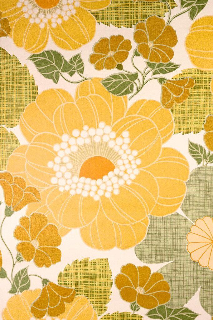 Vintage Retro Floral Wallpaper. Original vintage floral wallpaper with large flower pattern in soft colors.