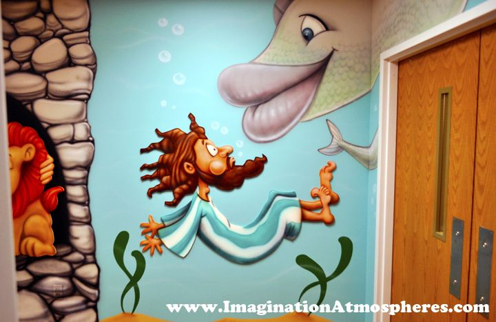 """Jonah and the Fish"" children's Bible story mural. www.ImaginationAtmospheres.com"