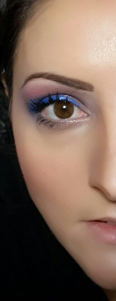 Bit more dramatic. Purple and blue fading into pink with metallic blue eyeliner