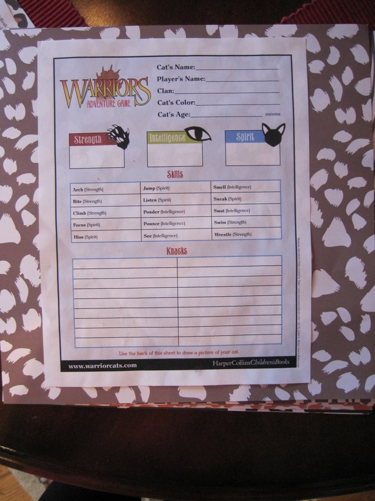 "Each girl took the ""what cat are you"" test and the ""which clan are you"" test on the Warriors website. They wrote their answers on the official Warriors Adventure Game Character Sheets. My daughter chose a local animal shelter to raise money using the Warrior Game points as dollars for a donation for all participants."