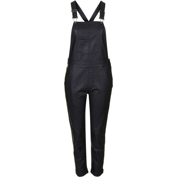 TopShop Pu Skinny Dungarees (£25) ❤ liked on Polyvore featuring jumpsuits, overalls, pants, topshop, black, bottoms, jumpsuit overalls, jump suit, skinny leg jumpsuit and skinny overalls