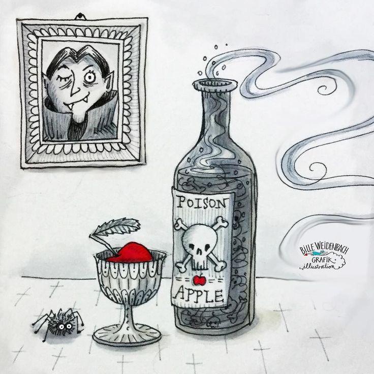 Kombi-Doodle: POISON APPLE #mabsdrawlloweenclub und WEIN (in Hessen trinkt man Apfelwein) #365doodlesmitjohanna . . . #inktober #apfelwein #äppelwoi #apple #poisonapple #vampire #copicmarkers #spider #unterseecafe #spinne #illustratorsofinstagram #inktober2017 #wein #usc_illustration #halloween #giftig #illustagram #illustration #kidsbookillustration #sketch #ink #billeweidenbach #draweveryday #mabsdrawlloweenclub2017 #childrensbookillustration #childrensbookillustrator #kidlitart