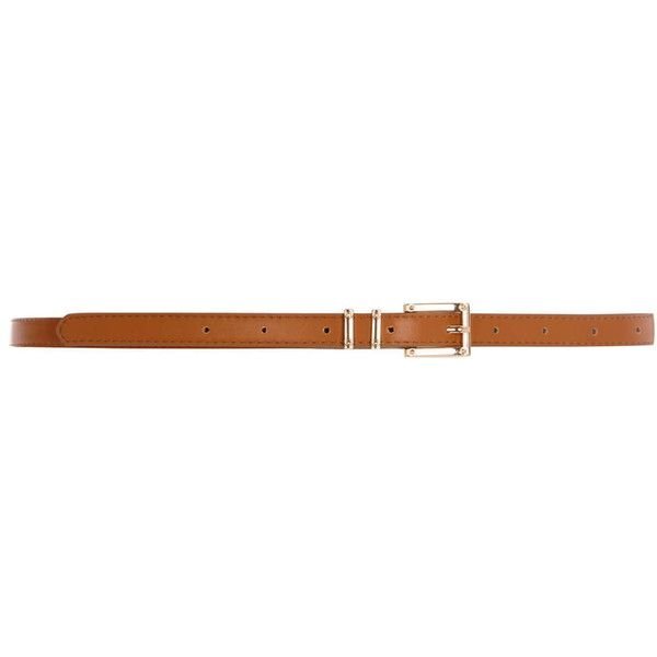 Dorothy Perkins Tan Screw Detail Skinny Belt ($5.27) ❤ liked on Polyvore featuring accessories, belts, brown, skinny belt, dorothy perkins, thin belt, tan skinny belt and thin brown belt