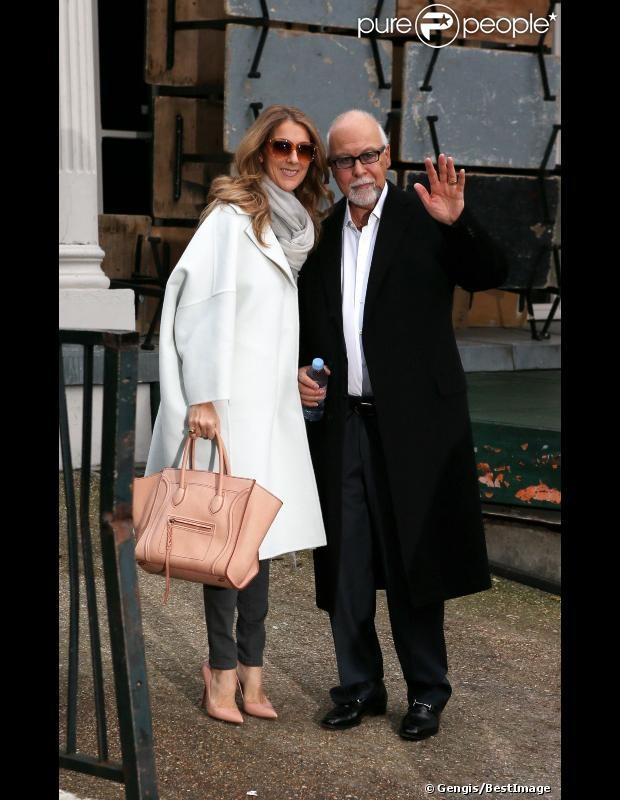 Céline Dion et son mari René Angélil quittent leur hôtel George V pour se rendre à l'enregistrement de l'émission Vivement Dimanche à Paris, le 27 novembre 2012.