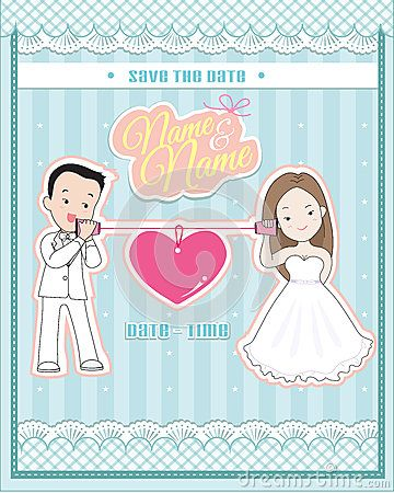 Wedding invitation card,  cute couple talking through a string phone (cup or paper phone)