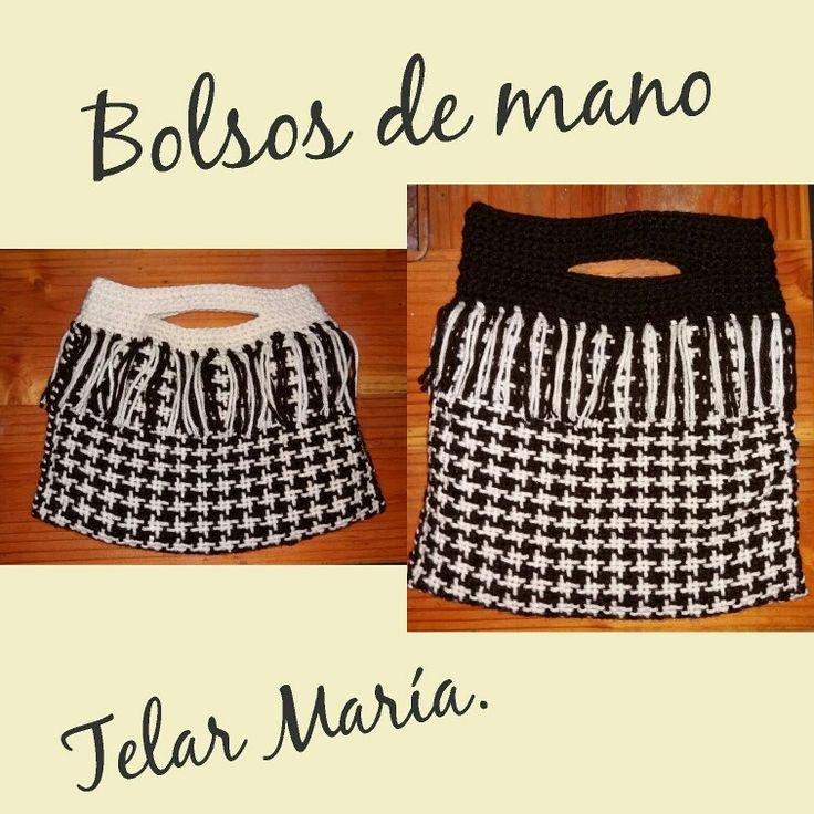 Bolsos de mano tejidos en #Telar Maria y terminaciones hechas a #crochet.