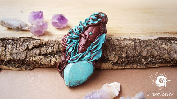 Natural Turquoise Tribal Woman Mask Pendant by SpiritualAmulets