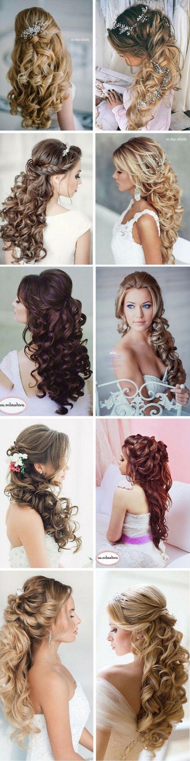 100 romantic long wedding hairstyles 2018 curls half up updos within long half up wedding hairstyles