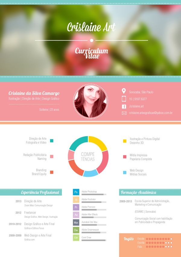 Curriculum Vitae by Crislaine Art, via Behance. Would be good for resume page on portfolio website.