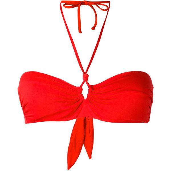 Mc2 Saint Barth Nancy bikini top ($59) ❤ liked on Polyvore featuring swimwear, bikinis, bikini tops, red, red swim top, spandex swimwear, red swimsuit top, swim tops and red tankini top