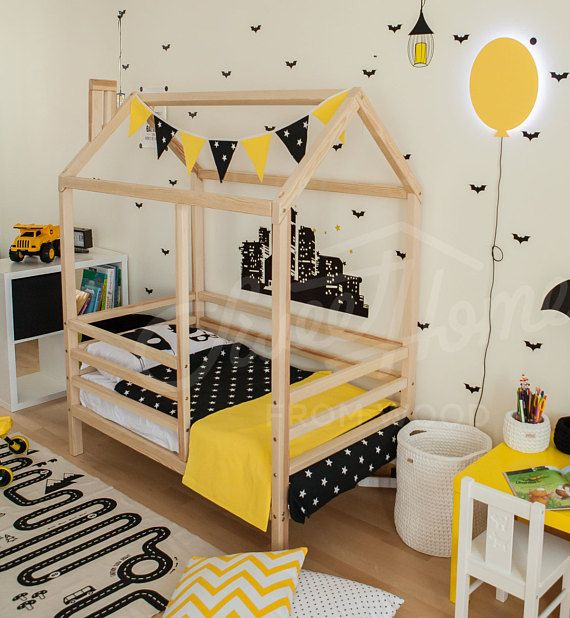 Batman room, Montessori bed, children bed, frame bed, wood bed kids teepee baby bed house nursery crib children furniture toddler bed