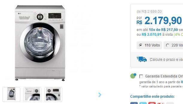 Lava e Seca LG 85kg Mega Touch - 9 Programas de Lavagem Água Quente << R$ 207091 >>
