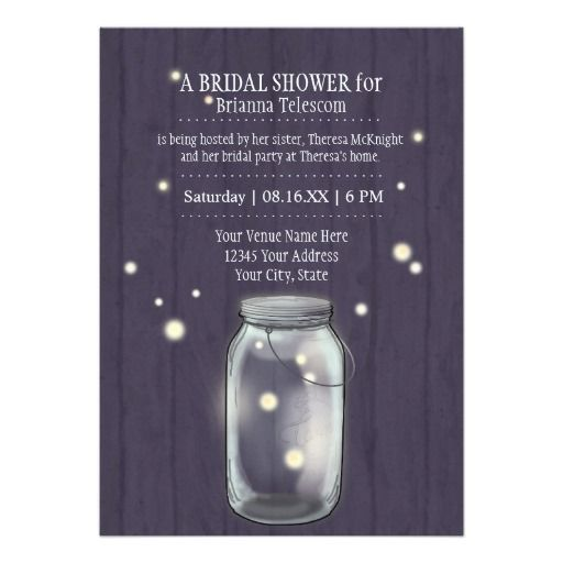 Matching Bridal Shower Invite and coordinating items for throwing an easy party! This modern, simple and yet beautiful spring or summer wedding invitation set was created from an original Mason, Ball, Jelly Jar illustration with fireflies, created by Audrey Jeanne Roberts. #Firefly #MasonJar #Rustic #Country #Night #Weddings
