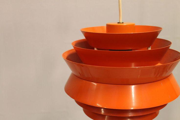 Carl Thore 1960s70s Ceiling light orange aluminium H20 Ø25cm