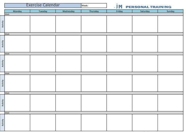Printable Exercise Calendar Calendar Pinterest Exercise calendar - timetable template