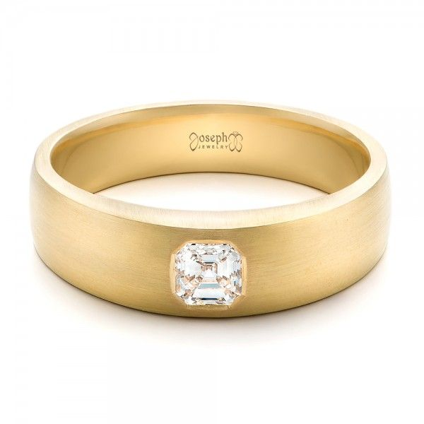 This Stylish Mens Wedding Ring Features An Asscher Cut Diamond Set In A Yellow Gold Band With Brushed Finish It Was Created As Custom Order For