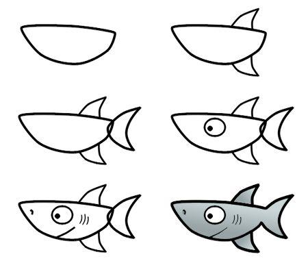 How to draw a cartoon shark step 3