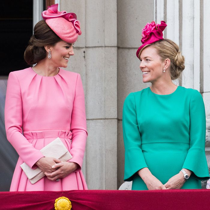 Both wearing pretty pink hats, the Duchess of Cambridge and her cousin-in-law Autumn Phillips were looking rosy in jewel tones during Trooping The Colour in London.<br><p>Photo: Samir Hussein/Samir Hussein/WireImage