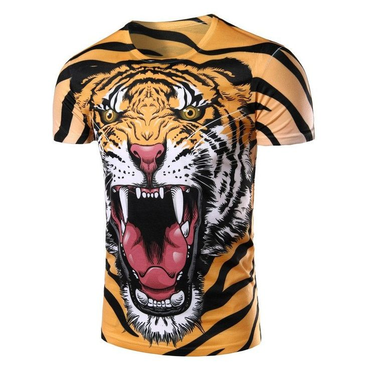 New Dress Fashion 2016 Men T Shirt Tiger Pattern 3D Printed Short Sleeve T-shirt  Slim Men Tops Tees O-neck Men t shirt Clothing