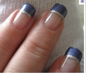 Silver and Blue-Violet French Tips