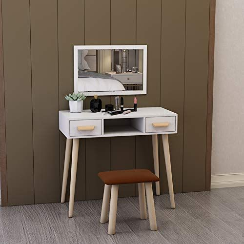 Hironpal Modern White Dressing Makeup Vanity Table With W Https