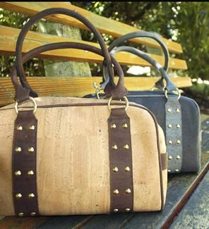 Amazing Cork handbags with golden studs. Fashionable, eco friendly, sustainable, unique and sophisticated cork handbag. It is a true vegan product.