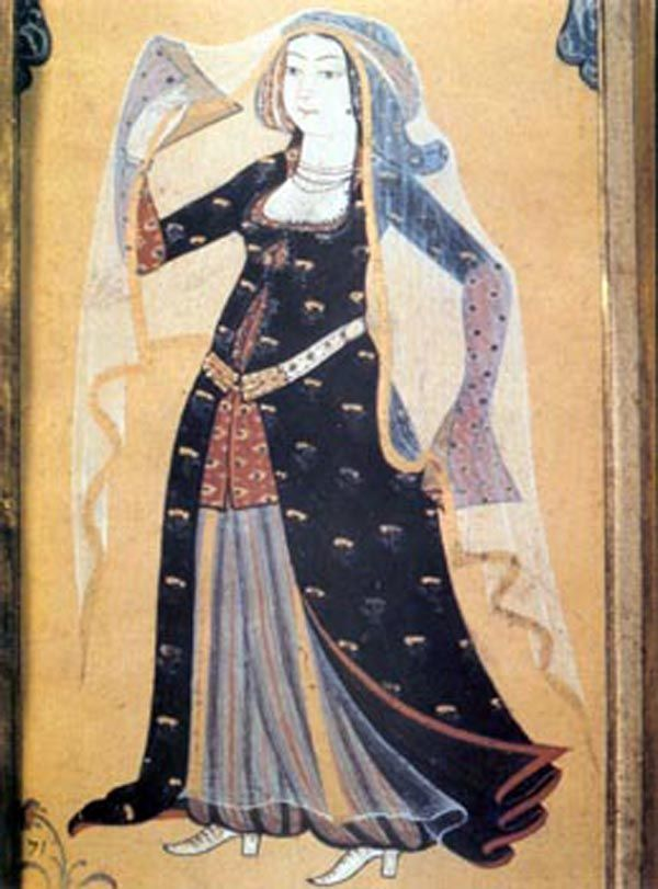 Palace woman. Miniature painting by Levni, 18th century, Topkapı Palace, İstanbul.